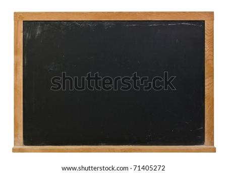 Black blank chalkboard with wood frame - stock photo