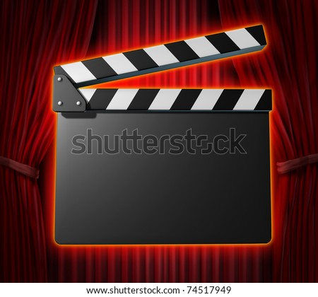 Black blank clapperboard movies symbol represented by a film slate on red curtain drapes background. - stock photo