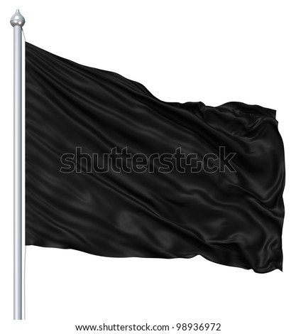 Black blank flag waving in the wind - stock photo