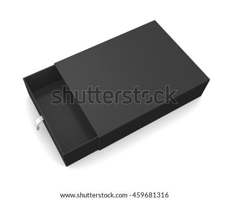 Black blank gift box isolated on white background. 3d render