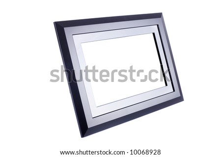 Black blank plastic and metal photo frame isolated on white. Put your image inside it. - stock photo