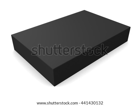 Black blank rectangle box isolated on white background. 3d render