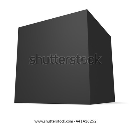 Black blank square box isolated on white background. 3d render