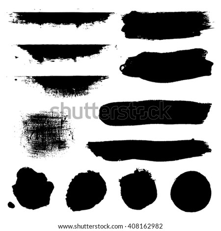 Black Blobs Set, Isolated on White Background - stock photo