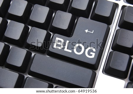 black blog enter button on a computer keyboard - stock photo