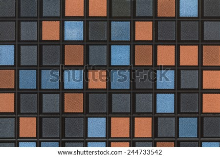 Black blue gray and orange Mosaic Tiles abstract background and texture - stock photo