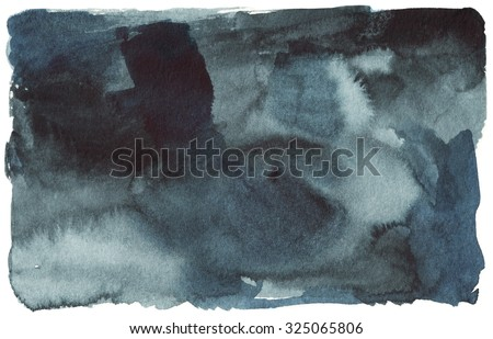 black blue watercolor stain, spot, abstract background - stock photo