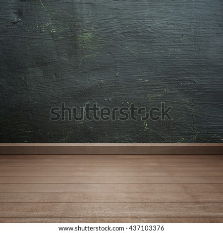 Black board walls and wood floor for text and background.Copy Space