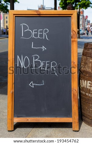 Black board with text beer no beer - stock photo