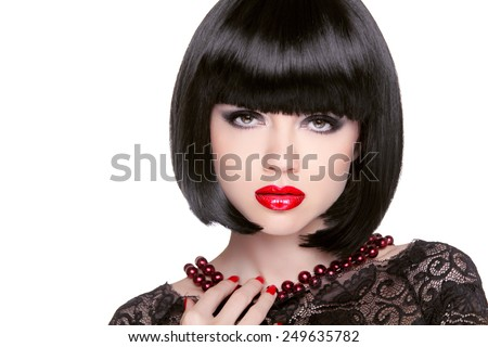 Black bob hairstyle. Red lips. Brunette Girl with short Healthy Hair isolated on white studio background. - stock photo