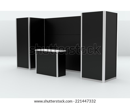 black booth or kiosk isolated on white. 3d render - stock photo