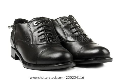 Black boots for men isolated on white background - stock photo
