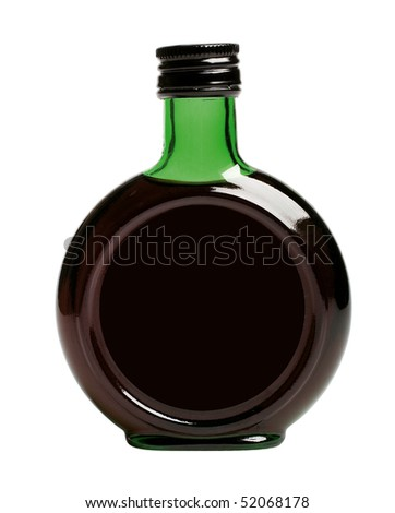 black bottle with balsam (isolated) - stock photo