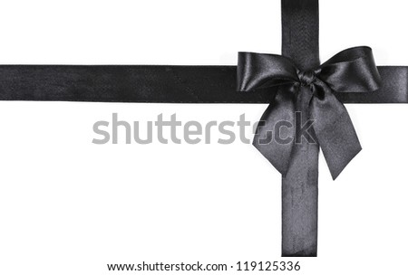 black bow on a white background - stock photo