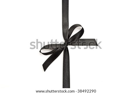 Black bow with ribbon - stock photo