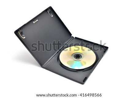 Black box with writable DVD disc inside isolated on white background. - stock photo