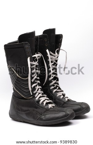black boxing boots, isolated - stock photo