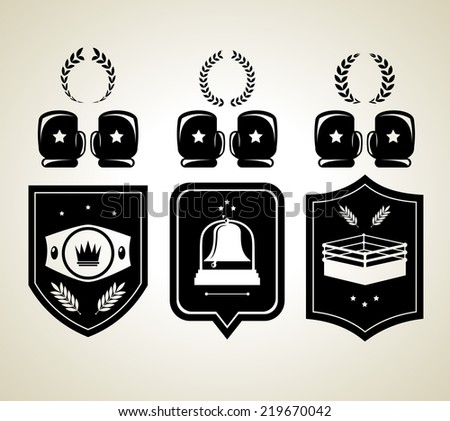 Black boxing gloves and winner shield awards isolated  illustration - stock photo