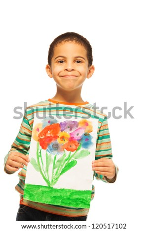 Black boy holding his drawing with flowers - stock photo