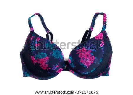 Black bra flower pattern. Isolate on white. - stock photo
