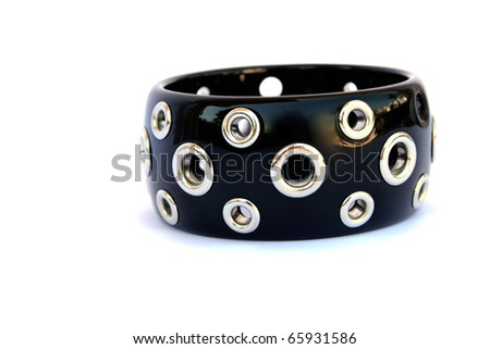 Black bracelet isolated on white background.