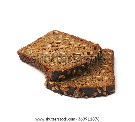Black bread slices isolated - stock photo