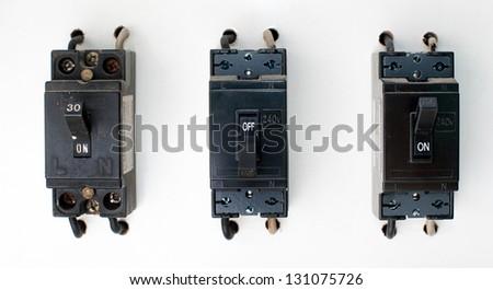 Black Breaker switch. - stock photo