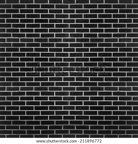 black brick wall background - stock photo