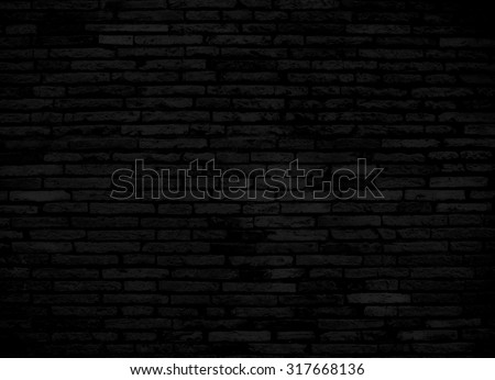Black brick wall for background or texture - stock photo