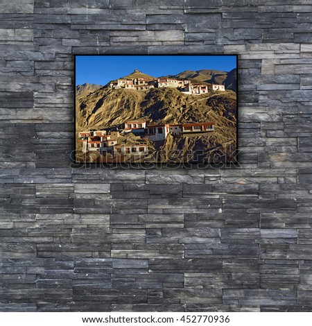 black brick wall texture. stonewall pattern design for decorated and interior with nature photo frame - stock photo