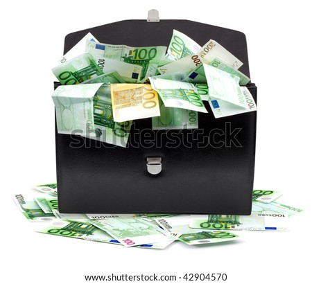 Black briefcase with money on a white background - stock photo