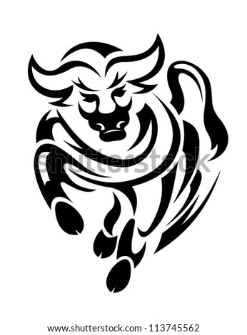 Black bull in tribal style for mascot or tattoo design. Vector version also available in gallery - stock photo