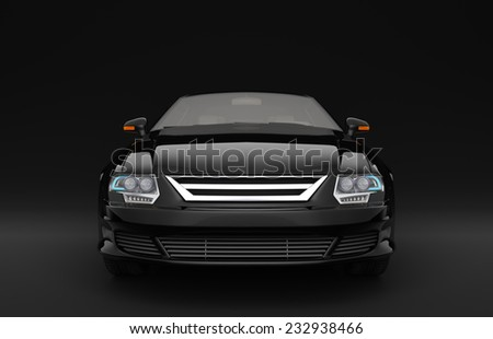 Black business sedan with no brand name.  The car is designed and modelled by myself. High resolution 3D render - stock photo