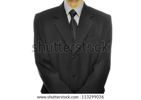 Black business suit with tie isolated over white background