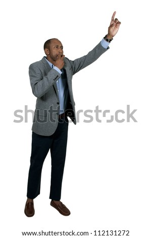 Black businessman hailing a cab in the city - stock photo