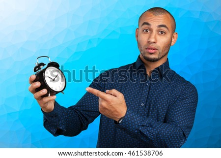 black businessman with clock
