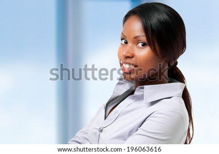 Black businesswoman portrait indoor - stock photo