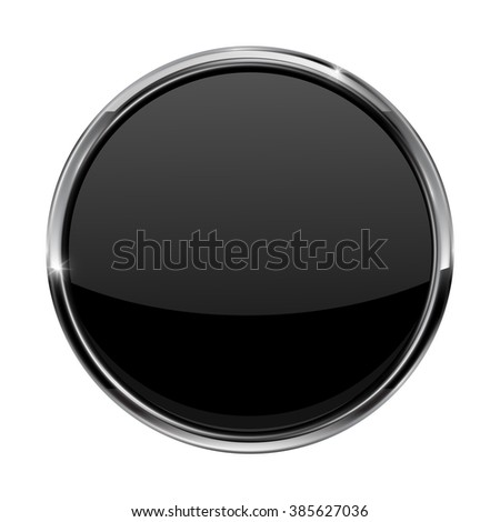 Black button. Shiny glass button with metal frame.   illustration isolated on white background. Raster version. - stock photo