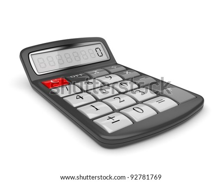 Black calculator 3D. Mathematics object. Isolated on white background - stock photo