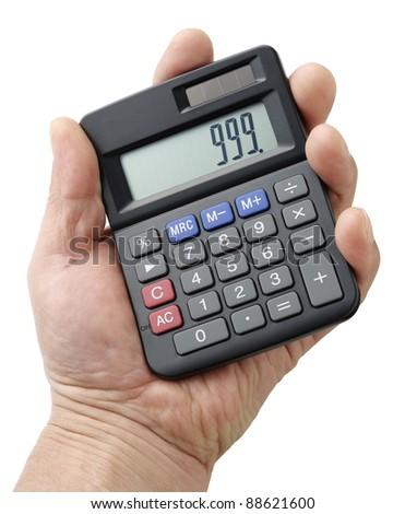 Black calculator in hand - stock photo