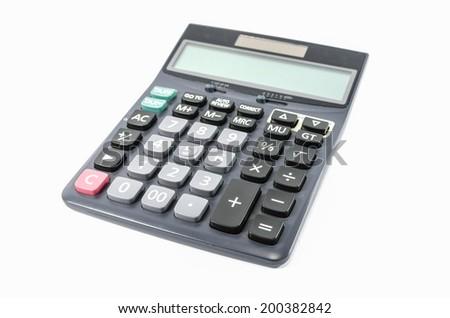 Black calculator isolated - stock photo