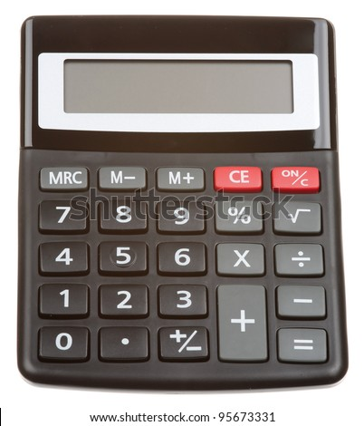 Black calculator isolated on a white background - stock photo