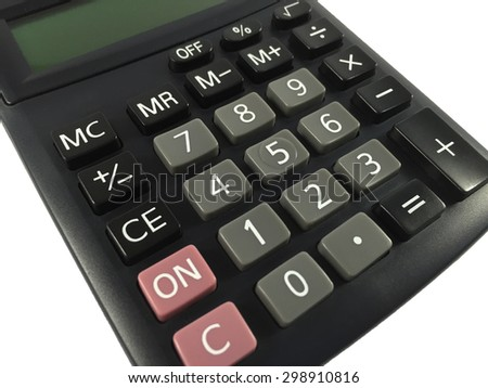 Black calculator on isolated background - stock photo