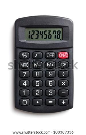 black calculator on white background - stock photo