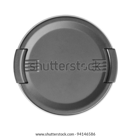 Black camera lens cover isolated on white