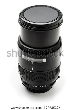Black camera lens on a white background - stock photo