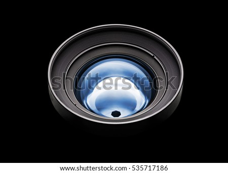 Black camera with blue lens isolated with clipping path