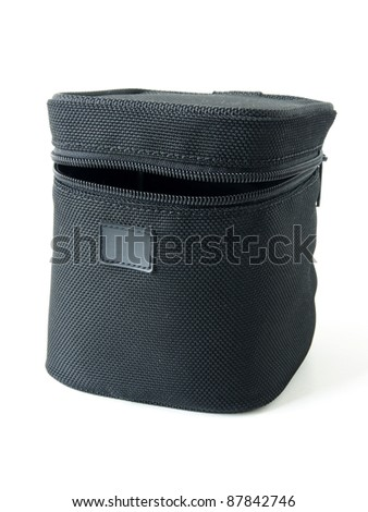black canvas lens box isolated on white - stock photo