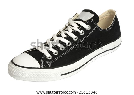 Black canvas sneaker, isolated, clipping path - stock photo
