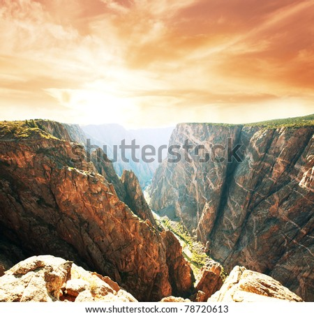 Black Canyon of Gunnison National Park landscapes - stock photo